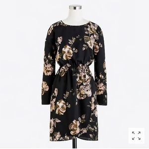 NWT J. Crew Black Floral Tulip Dress 0